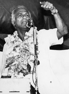 Cheddi Jagan at the microphone in the 1970s