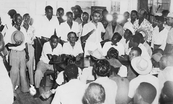 Dr. Jagan speaking to workers