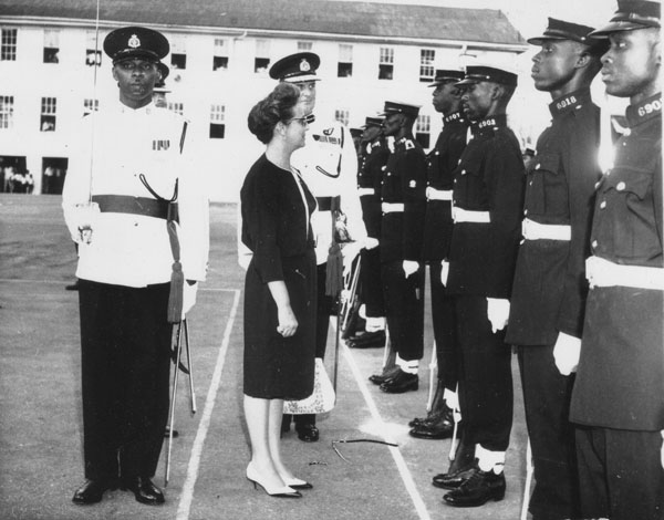 JJ inspects police force - she became Minister of Home Affairs in 1964 after the death of Claude Christian