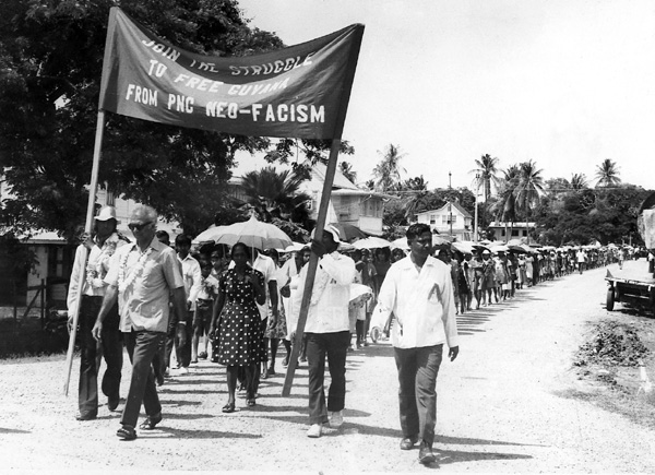 CJ leading a protest march